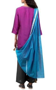 Purple kurta with grey pants & dupatta