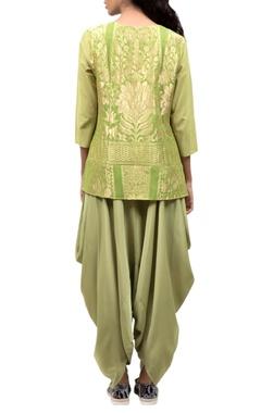 Green silk top & dhoti pants
