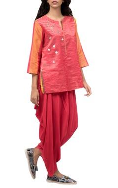 Pink & orange top with dhoti pants