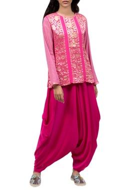 Light pink zari work top & dhoti pants