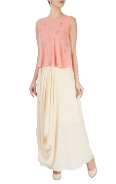Mishru Peach embellished top & draped skirt