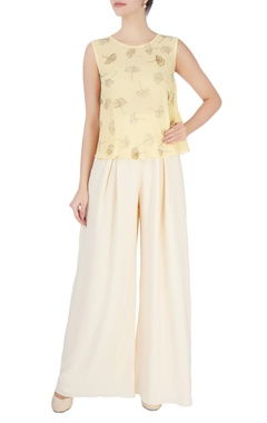 Mishru Light yellow embellished top & trousers