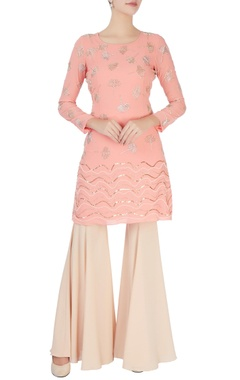 Mishru Peach embellished top & pants