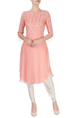 Mishru Peach sequin embellished kurta and pants