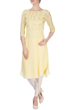 Mishru Yellow embellished kurta & flared trousers