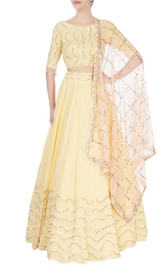 Mishru Yellow coin sequin lehenga