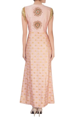Pink anarkali with jacket layer