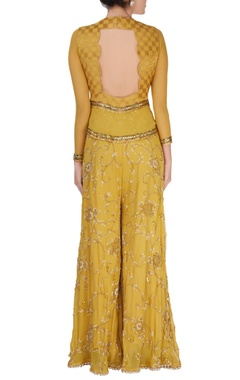 Yellow raw silk jumpsuit