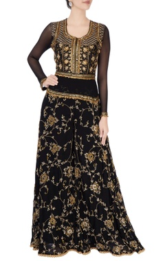 Black zari embroidered jumpsuit