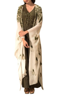 Green jumpsuit & beige embroidered jacket