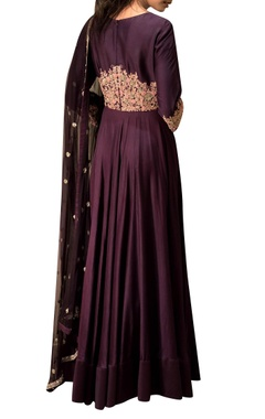 Purple anarkali with embroidery