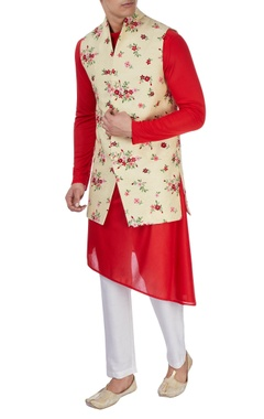red asymmetric kurta & nehru jacket