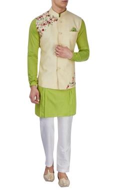 lime green kurta & beige floral jacket