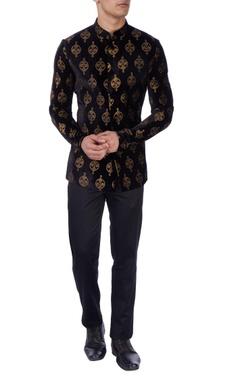 Black gold print velvet bandhgala