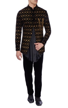 black velvet bandhgala & asymmetric kurta