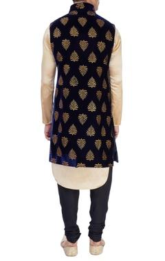 blue bandhgala with pleated kurta