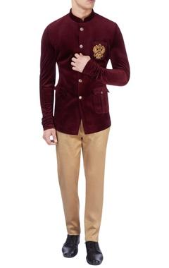 Maroon velvet bandhgala & pants
