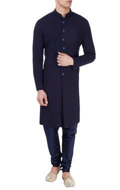 navy blue polka dot print kurta
