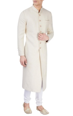 White sherwani with floral print buttons