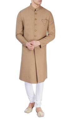 Khaki brown sherwani with golden buttons