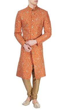 Rust orange printed sherwani