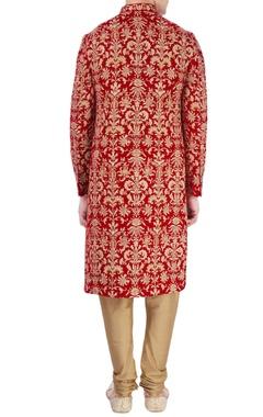 Red floral printed sherwani