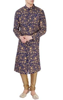 Blue gold sequin embellished sherwani