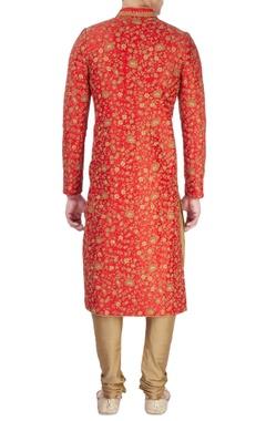 Red sherwani with shiny embellishments