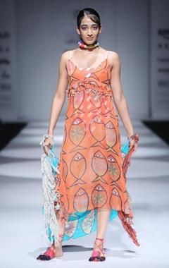 Orange printed strappy dress