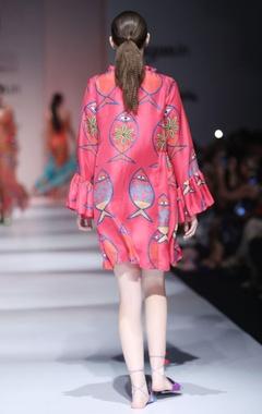 Hot pink fish print dress
