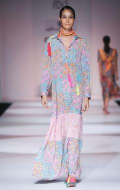 Multi-colored printed maxi dress