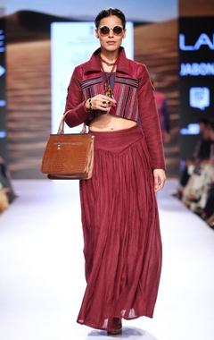 Marsala embroidered jacket & pleated skirt