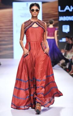 Coral red maxi dress & embroidered bolero