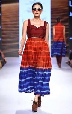 Red leheriya dyed midi dress