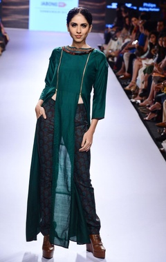 Emerald green slit tunic & printed trousers