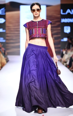 Blue kalidar lehenga & embroidered blouse