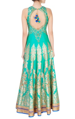 green sequin embroidered anarkali