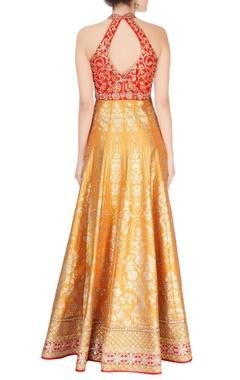red & yellow gota embroidered kurta