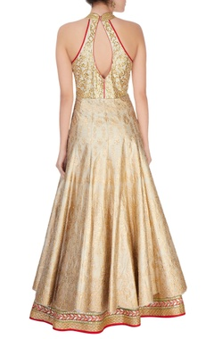 ivory & gold gota embroidered anarkali