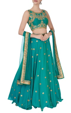 turquoise gota and zircon embroidered lehenga