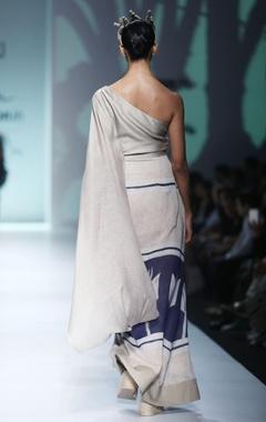 White & blue batik sari dress