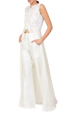 White slit tunic with pants