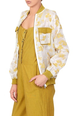 Yellow jumpsuit & floral bomber jacket