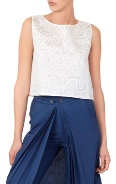 White cutwork blouse & trousers