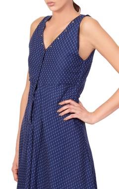 Blue micro print midi dress