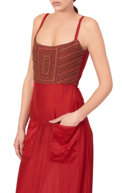 Red dress with embroidered bodice