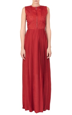 Red pleated style dress