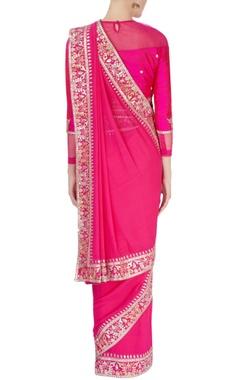 Pink gota patti border sari
