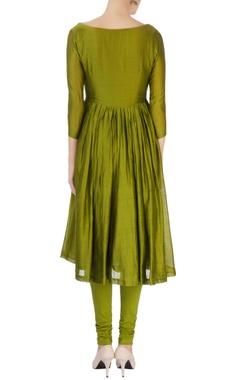 Olive green chanderi silk anarkali set