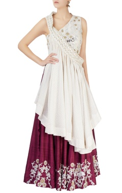 Wine foil embroidered lehenga